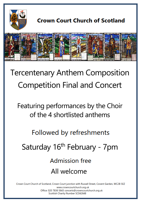 Tercentenary Anthem Composition Competition judging and concert  on Saturday 16 February