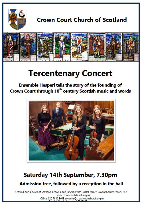 Poster for Tercentenary Concert on 14 September