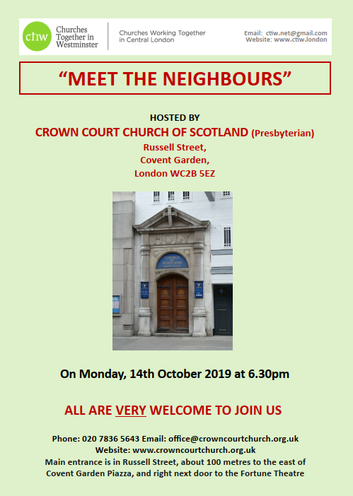 """Poster for """"Meet the Neighbours"""" visit to Crown Court at 6:30 pm on Monday 14 October 2019"""