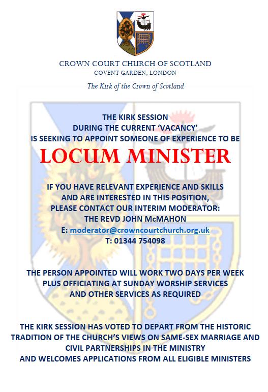 Advert for Locum Minister